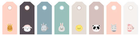 gift tags. Multicolored Set of cute animal portraits. animal print - zebra, giraffe and sheep, unicorn and hare, lion and panda, Vector. Scandinavian style. For card design, design and print