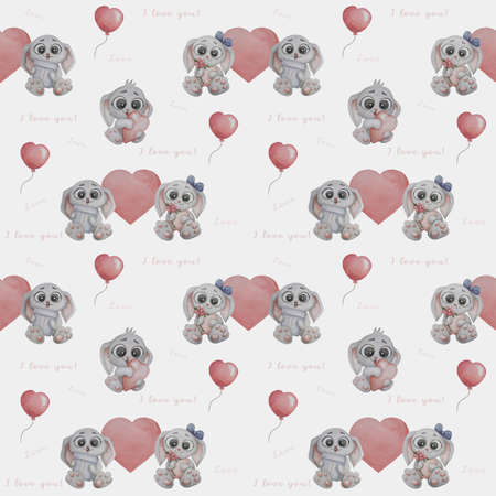 Seamless pattern. Cute animals. Gray rabbits. Funny girl hare with a flower and a boy with a gift in his paws on a white background with pink hearts, a balloon and the word - I love you. Watercolor