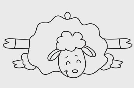 Yoga pets. A cute funny sheep go in for sports and gymnastics, lie in an asana and meditates. Sheep yoga drawing.