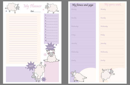 Cute planner templates - for a day, a week, a to-do list, a place to take notes, and a weekly fitness and yoga schedule. funny sheep in asanas - yoga pets. Organizer and Schedule. Vector. A4. Isolated