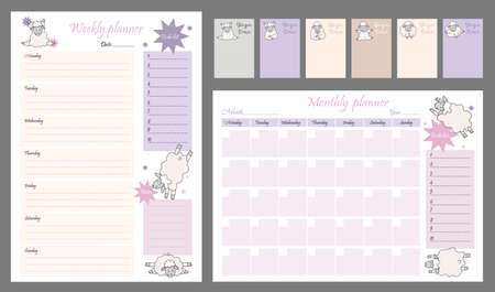Cute planner templates - for the day, week, month, to-do list and place for notes. Organizer and Schedule with Notes and To Do List. yoga pets. funny sheep in asanas. Vector illustration A4. Isolated Vetores