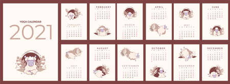 Calendar 2021. Yearly calendar - planner with all months. Design Yoga for Pets. Set of templates for 12 months 2021 with cute sheep meditating, doing yoga and standing in asanas. Vector. 13 sheets a4