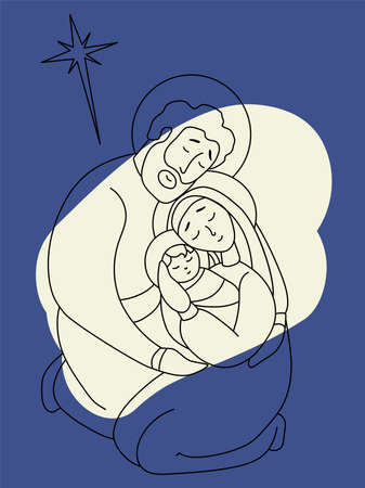 Merry Christmas. Holy Family Virgin Mary and Joseph. The birth of the baby Savior Jesus Christ. Holy night and the star of Bethlehem. Vector illustration on a blue background. Line, outline