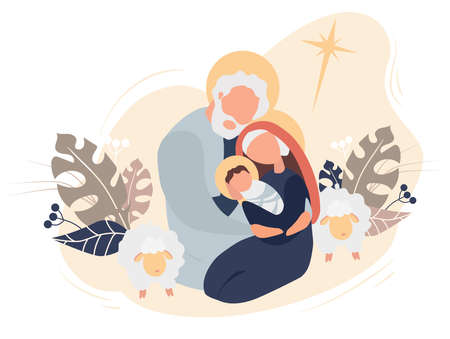 Merry Christmas. The birth of the baby Savior Jesus Christ. Virgin Mary and Joseph Holy Family, star of Bethlehem and sheep on a pink background with tropical leaves and decor. Vector illustration