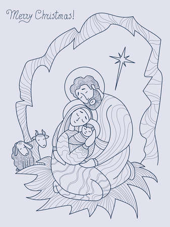 Merry Christmas. Virgin Mary, Joseph and baby Jesus Christ in cave, next to the a sheep. Holy night The birth of the Savior and the star of Bethlehem. Vector. Line, outline. Religious, family holiday Illusztráció