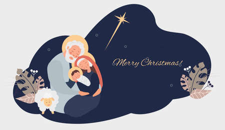 Merry Christmas. Birth of the Savior Christ. Virgin Mary, Joseph and baby Jesus, the star of Bethlehem and sheep on blue background with tropical leaves, decor and congratulations. Vector illustration