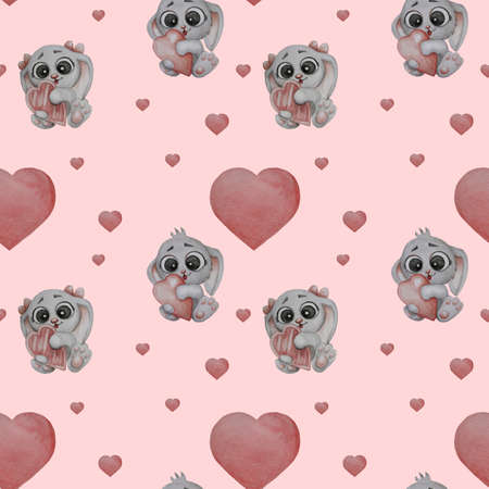 Seamless pattern. Cute animals. Little cute hares - a girl and a boy with a heart in their paws on a pink background with hearts. Watercolor. Hand drawing. Cute kids collection. romantic valentine 版權商用圖片