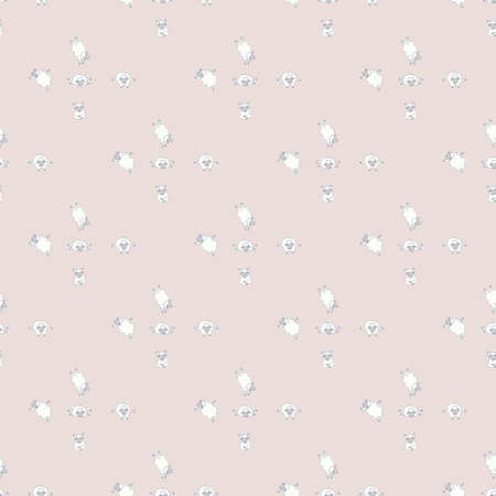 Seamless patterns. Yoga for pets. Cute white sheep in asanas and meditation, doing fitness. Vector illustration on a light pink background. Farm animals abstract and pattern. Cute baby collection