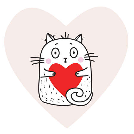 Cute funny white cat with a red heart in its paws on a pink heart background. Vector illustration. For design, decoration, valentines day cards Ilustração