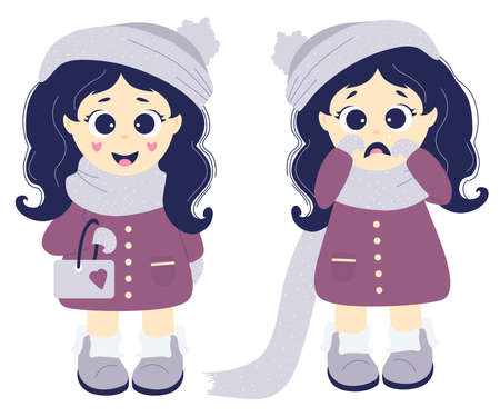 Emotions. Two girls - Joyful and sad crying. Little kids in winter clothes - a hat, a scarf, a coat and boots on a white background. Vector. Flat design. Childrens collection