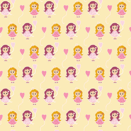 Seamless pattern little Girls. A girl with a balloon and a baby princess with her tongue hanging out and long hair on a light yellow background. Vector. Childrens collection for design