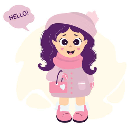A cute girl in winter clothes - a hat, a scarf, a coat and boots with a small handbag on her hand. Next to the cloud with the text - Hello. Vector illustration. Childrens collection Illusztráció