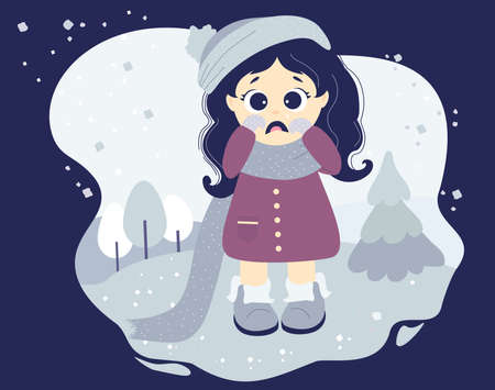 The girl is crying and upset, sad mood. Cute character in winter clothes - a hat, scarf, coat and boots on a decorative background with a winter landscape and snow. Vector. Isolated