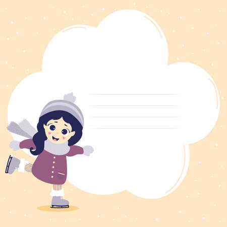 kids winter. Winter sport postcard and cute girl is skating. Pink background with snow and place of clouds for writing text. Vector. Kids collection for design, covers, cards, posters and stationery