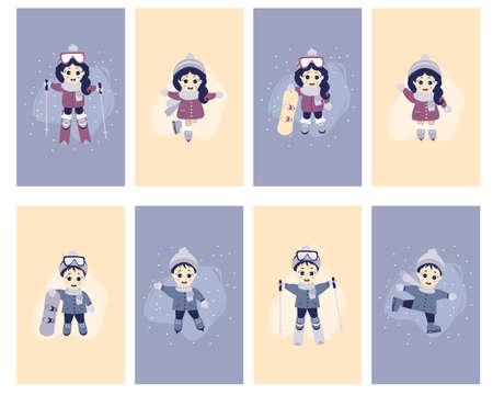 Childrens cards - Kids winter. A set of cards with cute girls and boys go in for winter sports - skiing, skates, snowboarding, in winter clothes, in different poses. Vector illustration 向量圖像