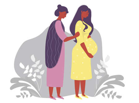 Motherhood. Happy pregnant dark-skinned woman in a yellow dress, tenderly hugs her belly and next to her is a woman mom. on a gray decorative background. Vector illustration Çizim