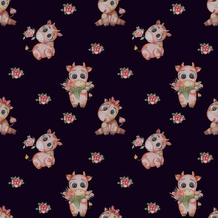 Seamless patterns. Little bulls boys with a red rose and a bouquet of tulips and a girl a girl cow with her tongue hanging out on a dark blue background. Watercolor. a cute animal for kids collection