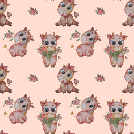 Seamless patterns. Three Little cute animals - boys bulls with a rose and a bouquet of tulips and a cow girl with her tongue hanging out on pink background. Watercolor. Cute animal for baby collection Banque d'images