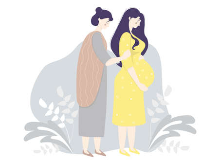Motherhood and family. Native people - Happy pregnant woman in a yellow dress gently hugs her belly. Next to her is her fair skin woman mother on a gray decorative background. Vector illustration