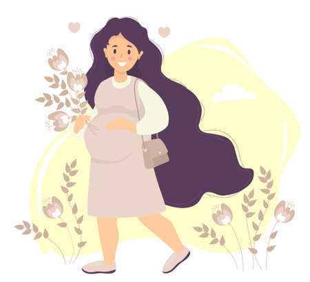 Future Motherhood. Happy pregnant woman With long hair in pink dress gently hugs her belly with one hand and holds a bouquet of flowers with the other. A bag hangs on the shoulder. Vector illustration