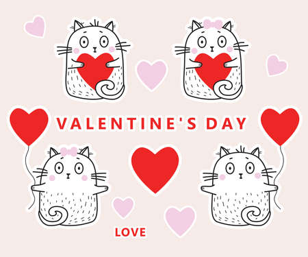 Set of stickers in love cats with hearts and with red balloons for Valentines day. Vector illustration. Collection of white cute cats for For design, decoration and greeting valentines 일러스트