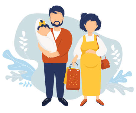 Happy Family flat vector. A pregnant woman in a yellow dress holds paper bags from the store in her hand. Next to her is a husband in her arms with a newborn daughter against. Vector illustration