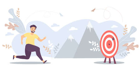 Man runs to his goal, moves on motivation to the target, the path to the pinnacle of success. Vector for task, goal, achievement, business, marketing concept. Concept of the path to achieving the goal