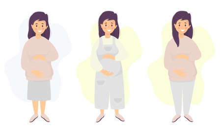 Motherhood. Vector set Happy pregnant woman tenderly hugs her belly with hands in different clothes for pregnant women - jumpsuit, skirt, trousers Vector. flat illustration