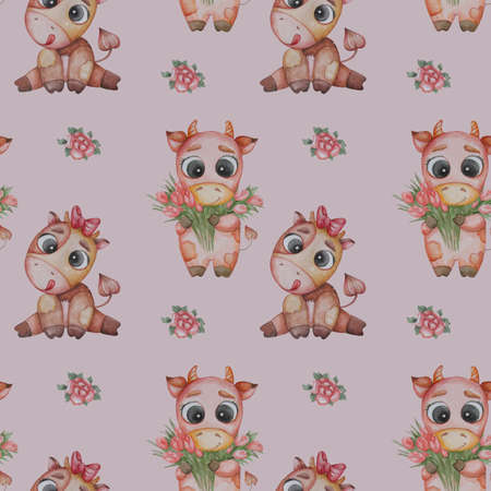 Seamless patterns. A little goby, a boy with a bouquet of tulips and a girl a cow with a tongue hanging out and bow on a light lilac background with roses. Watercolor. Cute animal for baby collection Banque d'images