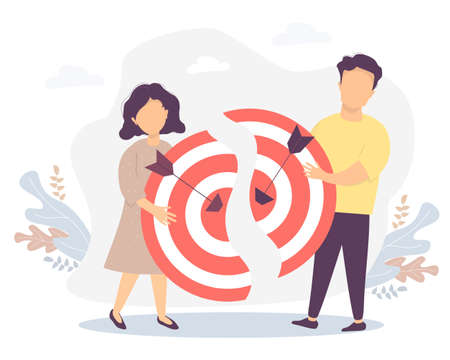 Vector illustration connecting the two halves of the goal, teamwork, collaboration, result and success. Man and woman holding halves of a target with arrows hitting the target Vettoriali