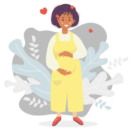 Motherhood. Happy dark-skinned pregnant woman in yellow overalls pants hugs her belly with her hands. Vector illustration. Flat design characters on decorative background of tropical leaves and hearts Ilustração