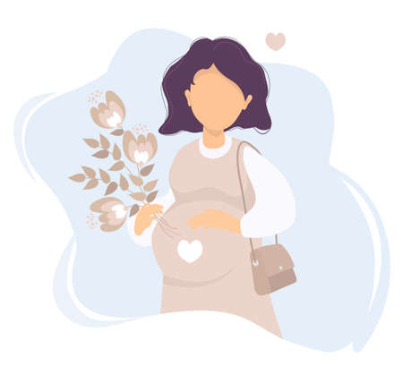Motherhood. Happy pregnant woman with one hand, gently stroking her belly, and in the other hand holds a bouquet of flowers. Vector. flat illustration of expectant mother