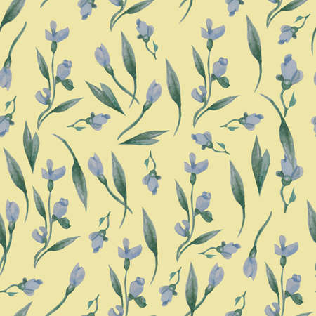 Seamless patterns. Floral pattern from blue flowers, buds and leaves on a yellow background. Watercolor. Hand drawing