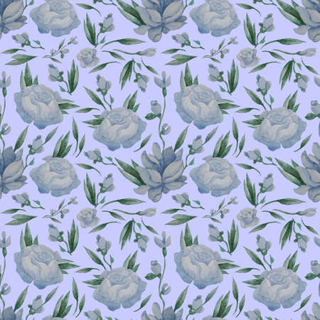 Seamless patterns. Blue flowers, buds and leaves on a light blue background. Watercolor. Hand drawing