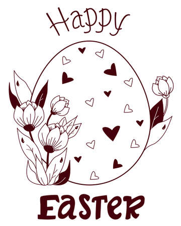 Happy Easter. Easter card. Large Easter egg with decor and a bouquet of spring flowers, buds and leaves. Vector. Black line, outline. Decorative pattern for design, decor, print, postcards for Easter