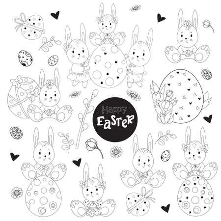 Set of sketched Easter. Cute bunnies girls and boys, Easter eggs, flowers and Easter decor. Vector illustration. Black line, outline. Cute decorative drawings for design Happy Easter