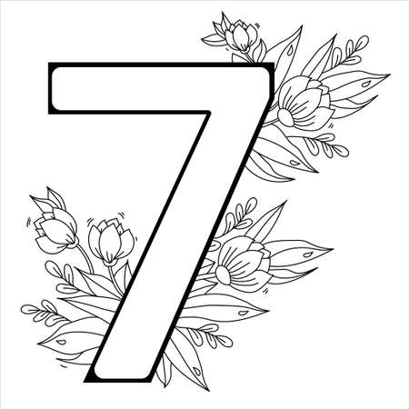 Flower number Seven. Decorative pattern 7 with flowers, tulips, buds and leaves. Vector illustration isolated on white background. Line, outline
