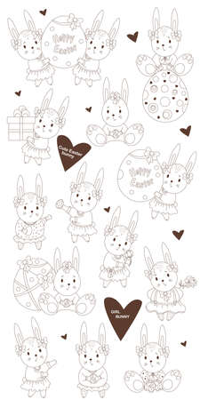 Set of sketched Easter with cute bunnies girls - with a gift, with an Easter egg, with flowers in dress and with a bow. Vector illustration. line, outline. decorative drawings for design Happy Easter