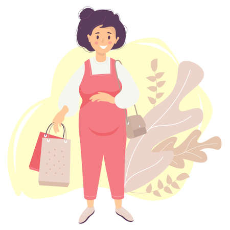 Motherhood. A happy pregnant woman in a red overalls tenderly hugs her belly with one hand and holds bags from the store in the other hand. womans bag hangs on the shoulder. Vector. flat illustration