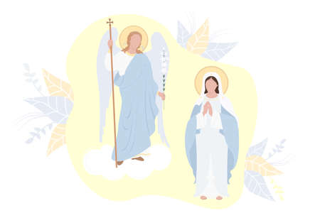 Annunciation of the Most Holy Theotokos. Virgin Mary, Mother of Christ in a blue maforia and Archangel Gabriel with a lily on a background with decor. Religious Catholic and Orthodox holiday. Vector