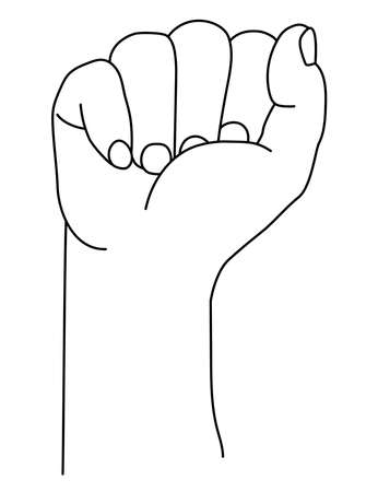 Hand gesture. Raised fist up or clenched fist. Vector illustration. isolated on white background. Drawing, sketch, line