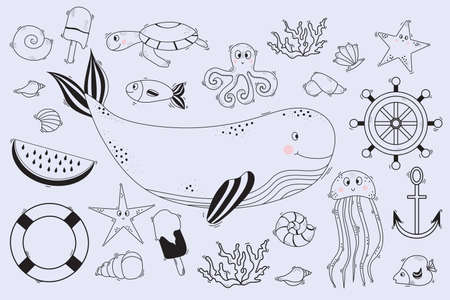 Large set of linear marine life. Underwater inhabitants - whale and dolphin, octopus and fish, starfish and jellyfish, turtle, shells and corals. Vector. Line, outline. Isolated hand drawings on white