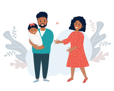 Family life concept. A happy black husband holds a smiling newborn daughter in his arms. A lovely woman-wife stands next to him. Vector illustration. Happy Ethnic Family with Little girl