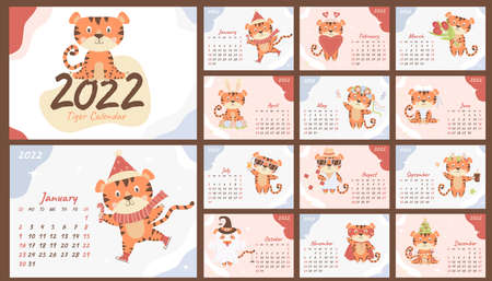 Wall calendar template for 2022. Year of the Tiger in the Chinese or Eastern calendar. A set of 12 pages and a cover with a cute striped tiger. Vector illustration. Stationery, design, print and decor
