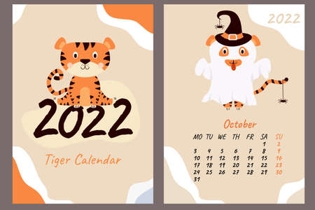 Set - October 2022 calendar and cover. Cute ghost tiger in a hat with spiders, Halloween holiday. Vertical A4 template. Week starts on Monday. Year of the Tiger in Chinese or oriental