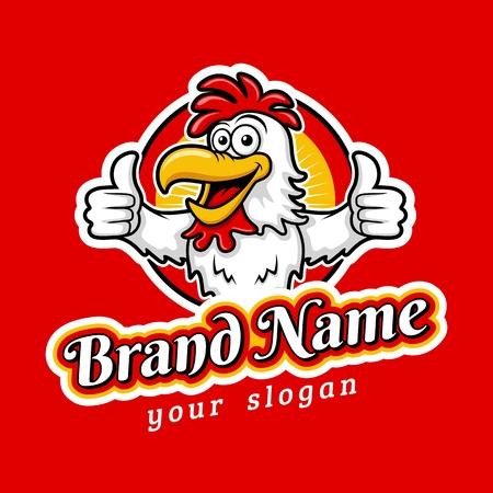 Fried Cute Chicken Emblem Logo Template