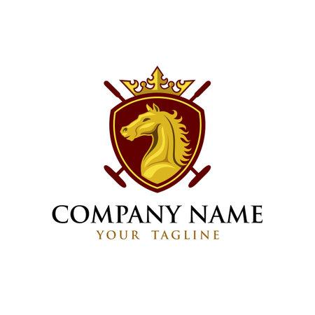 Horse Hockey Emblem Logo Template