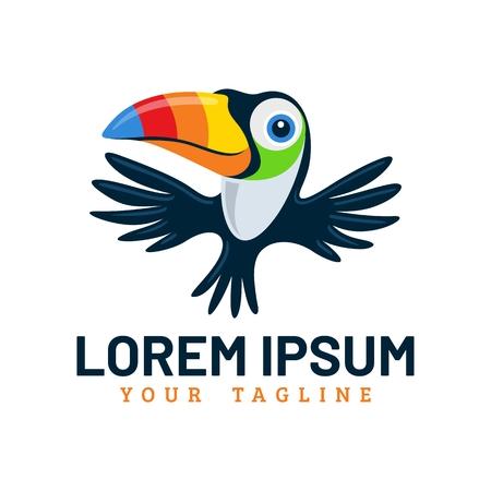 Cute toucan bird mascot icon template.