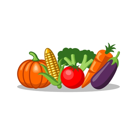 Colorful Vegetables Simple Icons vector illustration