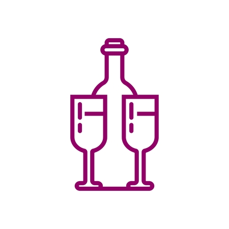 Wine Bottle and Glasses Simple Line Icon isolated on plain background.